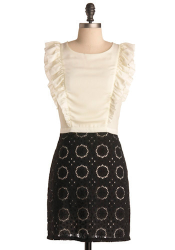 Riesling Dress - Black, White, Eyelet, Ruffles, Casual, Twofer, Sleeveless, Short