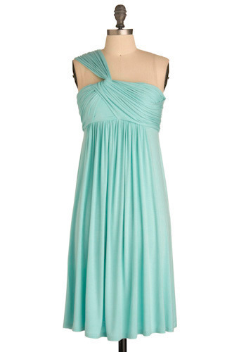 Fluid Dynamics Dress in Aero - Blue, Solid, Party, A-line, Empire, One Shoulder, Long, Nautical