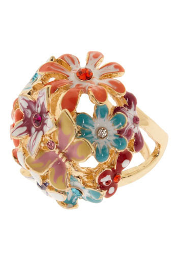 Who Sent Flowers? Ring - Multi, Gold, Red, Orange, Blue, Purple, Pink, Rhinestones, Party, Work, Casual, Statement, Spring, Summer