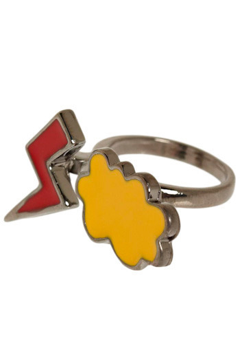 Stand-up Comic Ring - Red, Yellow, Silver, Casual