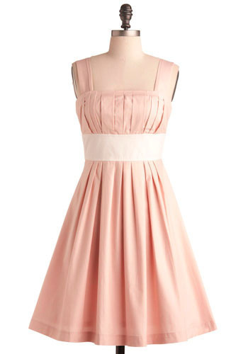 Kennebunkport Dress in Wake - Pink, White, Solid, Pleats, Formal, Prom, Wedding, Party, Casual, Vintage Inspired, A-line, Empire, Tank top (2 thick straps), Long