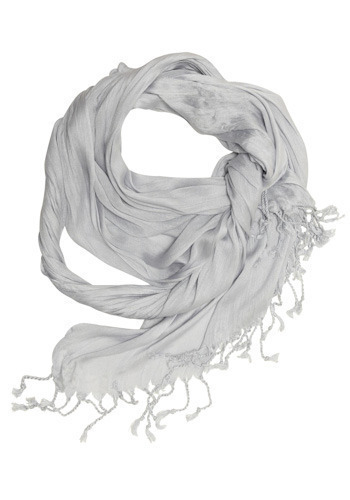 A Crinkle in Time Scarf in Grey - Grey, Solid, Fringed, Work, Casual, Urban