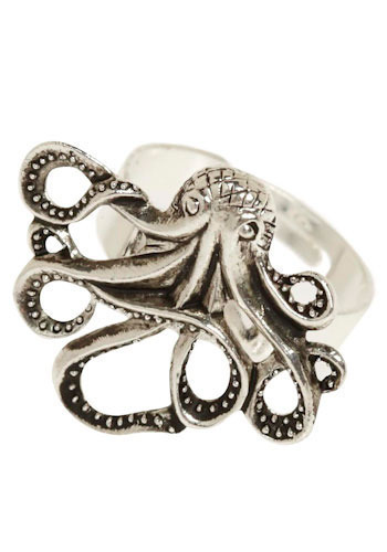 My Pet Octopus Ring - Silver, Gold, Nautical, Best Seller, Variation, Print with Animals, Silver, Top Rated