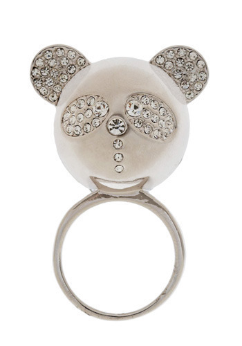 Panda Diplomacy Ring - Silver, Rhinestones, Formal, Prom, Wedding, Party, Work, Casual, Statement