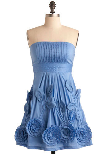 Blue-ming Beauty Dress - Blue, Flower, Pleats, Prom, Wedding, Party, A-line, Empire, Strapless, Short