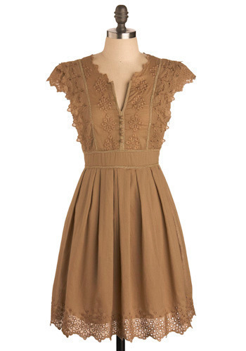 Pianola Dress in Brown by Ryu - Brown, Tan, Floral, Embroidery, Lace, Casual, A-line, Cap Sleeves, Mid-length