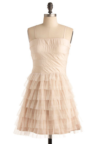 4 Score and 7 Tiers Ago Dress - Cream, Solid, Tiered, Casual, A-line, Spaghetti Straps, Short