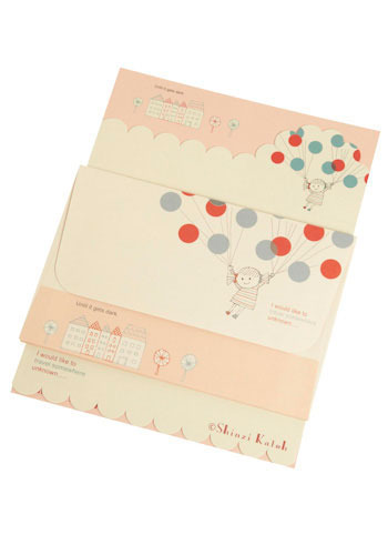99 Cute Balloons Stationery Set - Pink, Red, Blue, Black, Polka Dots, Party, Work, Casual