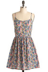 That Which We Call a Dress - Multi, Green, Blue, Pink, Black, Floral, Casual, A-line, Spaghetti Straps, Spring, Summer, Mid-length