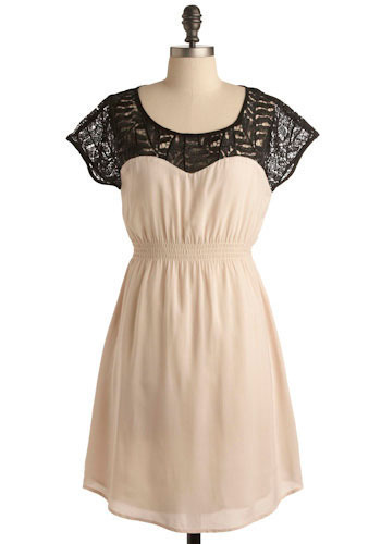 Whisper in the Dark Dress - White, Black, Cutout, Lace, Casual, A-line, Mini, Cap Sleeves, Short