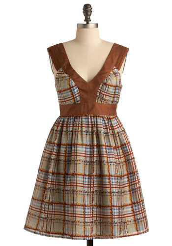 Launch Plaid Dress - Brown, Red, Yellow, Green, Blue, Plaid, A-line, Tank top (2 thick straps), Short