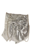 Friday Night Fever Shoulder Bag - Silver, Bows, Chain, Party, Work, Casual