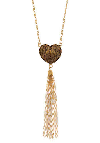 Heart Songs Necklace - Silver, Gold, Chain, Tassles, Casual