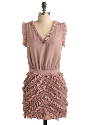 Ruffle Effect Dress - Pink, Solid, Ruffles, Casual, Mini, Sleeveless, Spring, Summer, Short