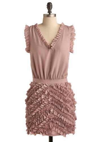 Ruffle Effect Dress - Pink, Solid, Ruffles, Casual, Mini, Sleeveless, Spring, Summer, Short