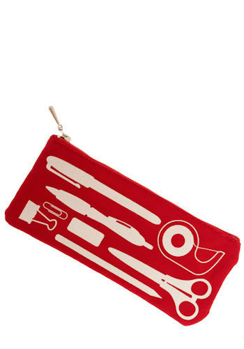 Prepared for Anything Pencil Pouch - Red, Pink, White, Novelty Print