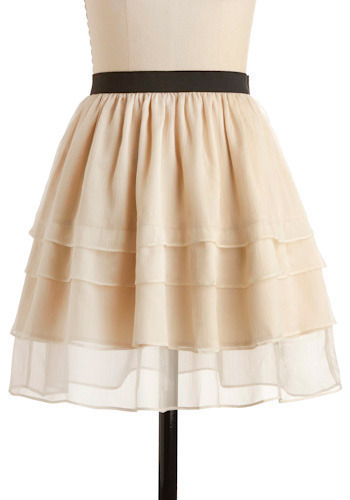 Again and Again Skirt - Black, Solid, Tiered, Party, Casual, A-line, Spring, Summer, Short