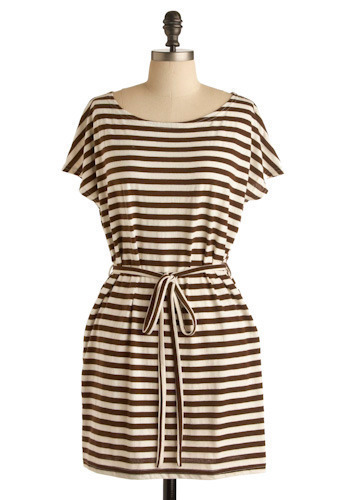 Cappuccino Dress - Brown, White, Stripes, A-line, Short Sleeves, Short
