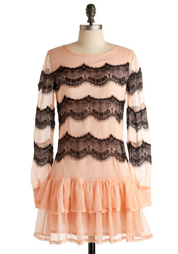 The Splendor of Style Dress - Pink, Black, Stripes, Cutout, Lace, Ruffles, Scallops, Casual, Drop Waist, Long Sleeve, Short
