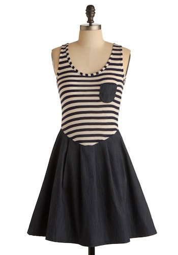 Stripes Ahoy Dress - Mid-length