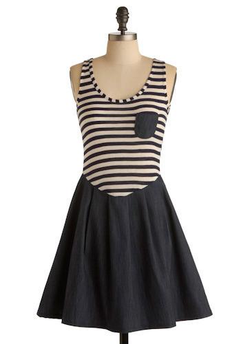 Stripes Ahoy Dress - Mid-length