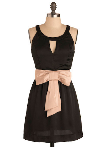 Have a Nice Night Dress - Black, Tan / Cream, Solid, Bows, Cutout, Special Occasion, Wedding, Party, A-line, Tank top (2 thick straps), Short