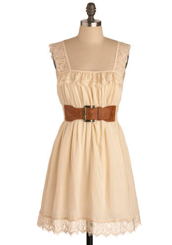 Agarwood Dress - Cream, Solid, Floral, Lace, Casual, Boho, A-line, Tank top (2 thick straps), Short