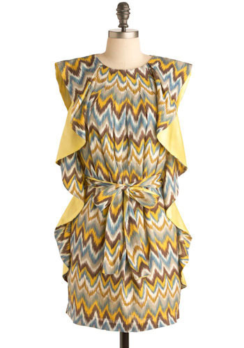 Waves of Fortune Dress - Yellow, Blue, Brown, White, Print, Ruffles, Sheath / Shift, Short Sleeves, Short