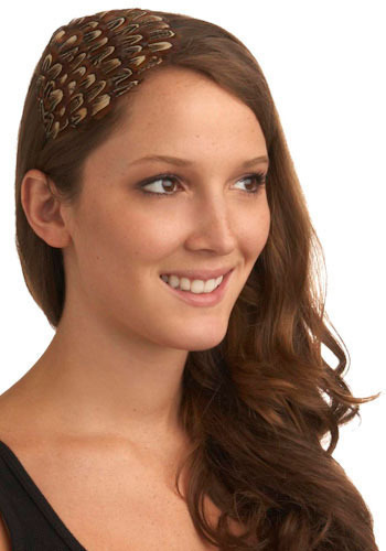 Isn't It Pheasant Headband - Brown, Tan / Cream, Black, Feathers, Vintage Inspired