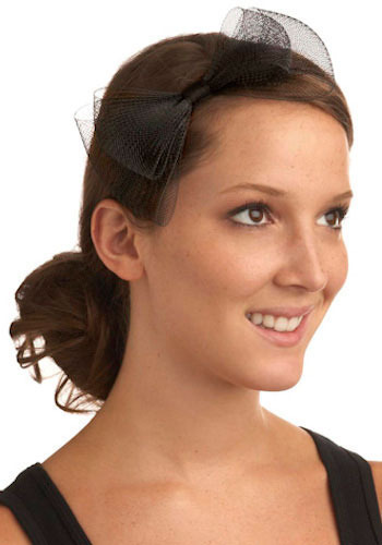 Totally Wired Headband - Black, Solid, Bows, Special Occasion, Prom, Wedding, Party, Work, Casual, Vintage Inspired