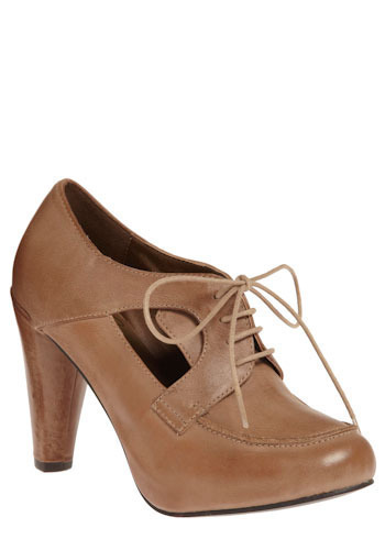 Spotlight Heel in Brown - Brown, Solid, Cutout, Party, Work, Casual, Vintage Inspired, Urban