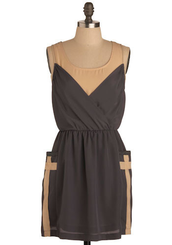 Cocorosa Dress - Grey, Tan / Cream, Casual, A-line, Sleeveless, Tank top (2 thick straps), Short