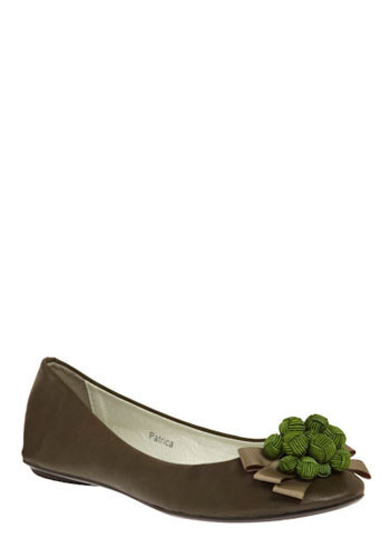 Sémillon Flat - Green, Tan / Cream, Bows, Work, Casual