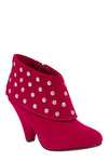 Do You Believe in Magenta? Boot - Pink, Silver, Solid, Studs, Party, Casual, Vintage Inspired, Mid