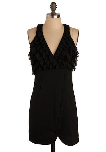 Opening Night Dress - Black, Solid, Buttons, Ruffles, Party, Empire, Tank top (2 thick straps), Racerback, Short