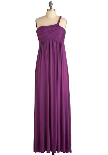 Keen in Aubergine Maxi Dress - Purple, Solid, Casual, Empire, Maxi, One Shoulder, Long