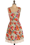 Blooming Brush Strokes Dress - Multi, Red, Orange, Yellow, Blue, Purple, Pink, Tan / Cream, Grey, White, Floral, Casual, A-line, Tank top (2 thick straps), Spring, Summer, Mid-length