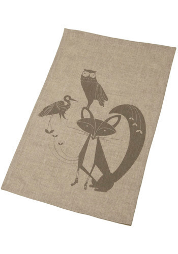 A Gathering of Friends Tea Towel - Print with Animals, Brown