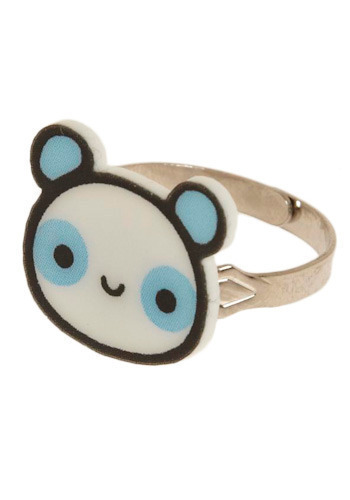 Party Panda Ring - Blue, Cream