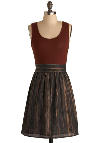 Precious Metals Dress - Brown, Gold, Stripes, Bows, Wedding, Party, Twofer, Tank top (2 thick straps), Mid-length