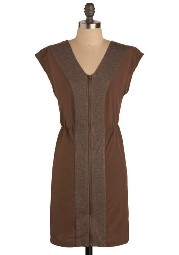 Brownstone Browsing Dress - Brown, Casual, Shift, Cap Sleeves, Mid-length