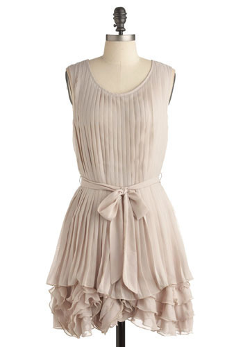 Coffee and Dreams Dress - Cream, Solid, Pleats, Casual, A-line, Sleeveless, Mid-length