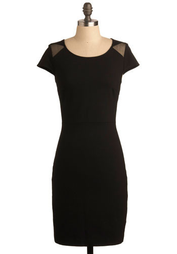 Deus Ex Machina Dress by BB Dakota - Black, Solid, Exposed zipper, Party, Shift, Short Sleeves, Cutout, Girls Night Out, LBD, Mid-length