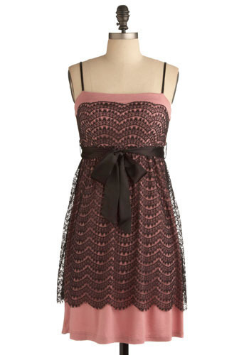 Fall Formal Dress - Pink, Black, Floral, Lace, Party, Casual, A-line, Spaghetti Straps