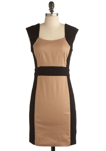 Coffee With Me Dress - Brown, Black, Special Occasion, Party, Work, Shift, Sleeveless, Mid-length