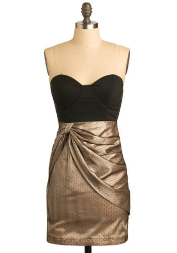 The Dress I've Been Telling You About - Black, Gold, Party, Shift, Strapless, Mid-length