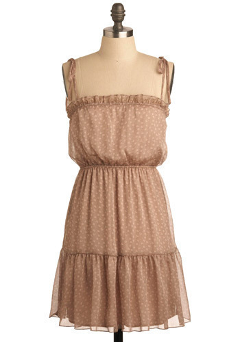 Love at First Haight Dress - Brown, Pink, Floral, Ruffles, Casual, Empire, Spaghetti Straps, Spring, Summer, Short