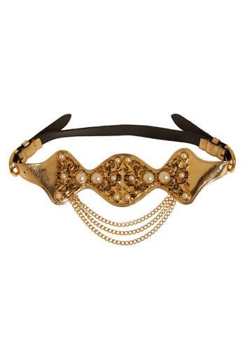 Vintage Indulge Yourself Belt in Gold