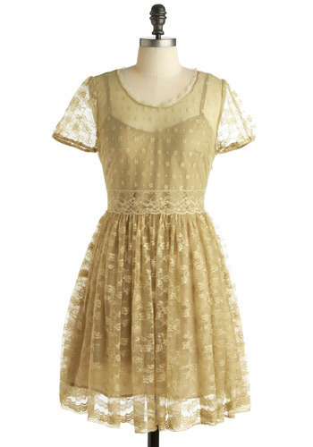 Smoke on the Water Dress in Gold - Gold, Polka Dots, Floral, Lace, Casual, Vintage Inspired, A-line, Cap Sleeves, Spring, Summer, Short