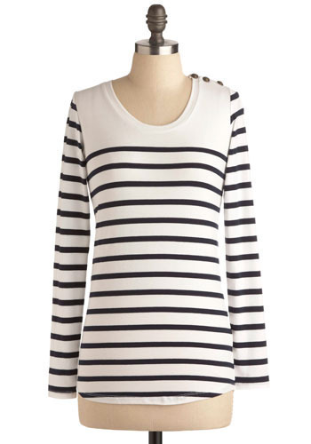 On a Friendly Shore Top by BB Dakota - Blue, White, Stripes, Buttons, Work, Casual, Nautical, Long Sleeve, Press Placement, Mid-length